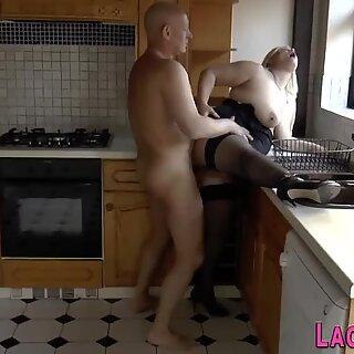 Heeled grandma rides fat cock