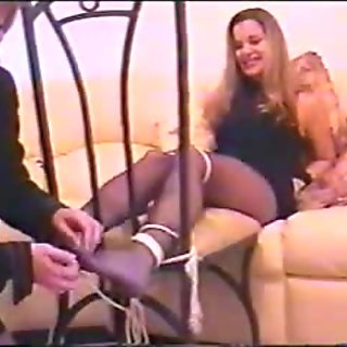 Blonde gets arms restrained on sofa and feet restraint getting feet tickled