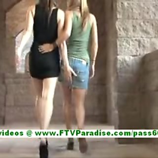 Leslie and Danielle busty lesbian women licking and