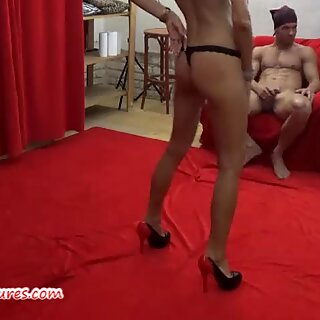 Backstage interview and striptease by busty czech MILF