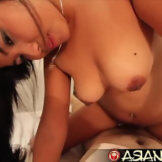 asian bang-out Diary - Young Asian beauty with hairy pussy takes white weenie