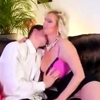 Beautiful mom with saggy big boobs & guy
