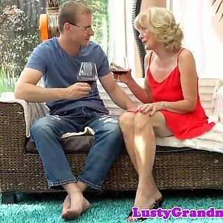 Smalltit granny enjoys riding young cock