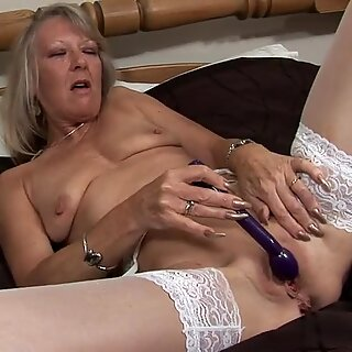 Grandmother playing with her old pussy