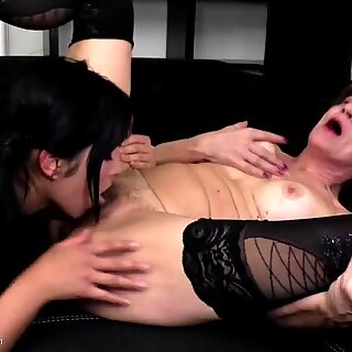 Crazy and hot old and young lesbian love