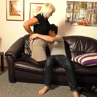 XXX OMAS - Horny blonde granny fucked hard from behind