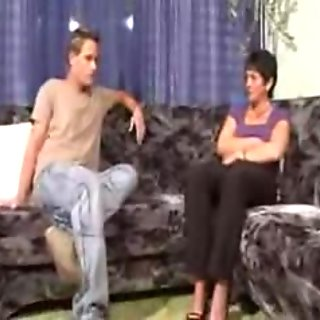 Mature woman and young man