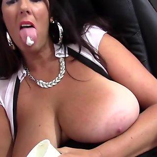Cougar busty Lulu Lush bondage her huge boobss