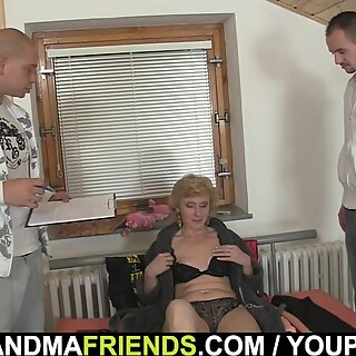60 years old skinny granny pleases two men