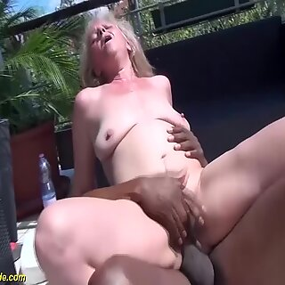 chubby hairy 68 years old granny gets rough fucked by her first interracial big black cock porn