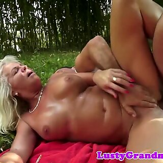 plump gilf screwed by her lover outdoors