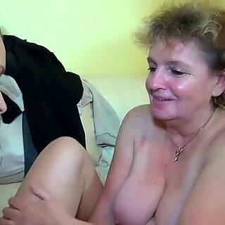 Granny masturbate with young couple on the bed OLDNANNY