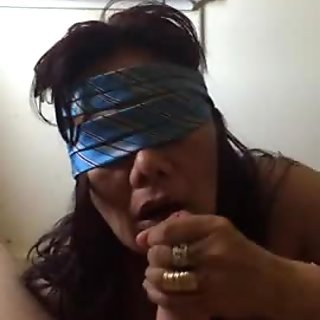 Asian Mature MILF Blowjob with cumshot