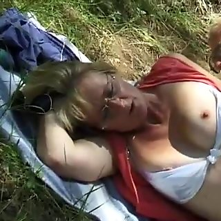 48 years old Molly dogging in nature