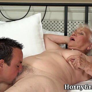 Busty granny jizzed over