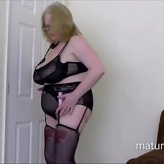 Sally in black lingerie