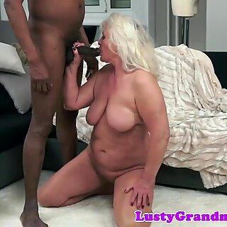 Gorgeous granny banged by big black dick