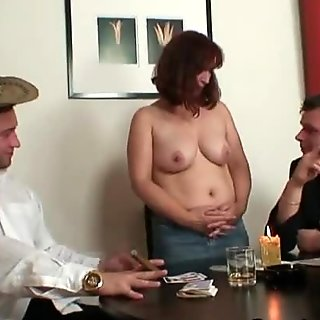 Oldie in stockings takes two rods