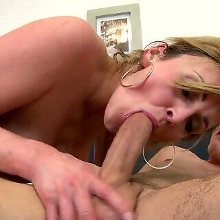 Sexy cougar mom fucks her young boy