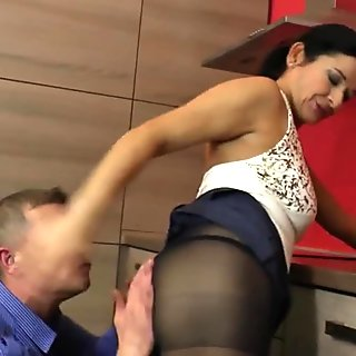Hot housewife fucking in the kitchen