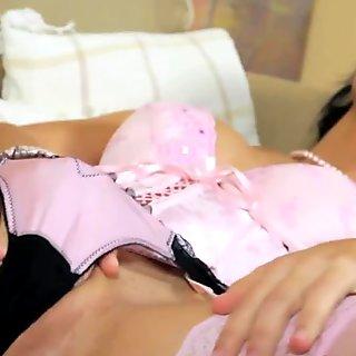 Pink panty milf masterbation close up