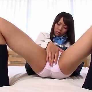 Haruna fondles herself thru her super-cute schoolgirl panties