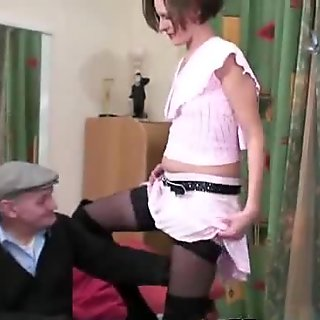 Sexy guest handles old cock