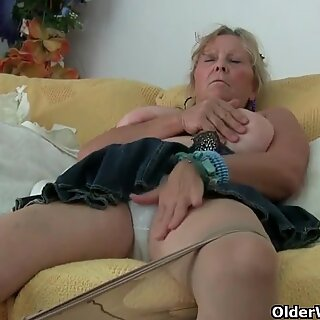 grannie with big tits milks and gets finger nailed