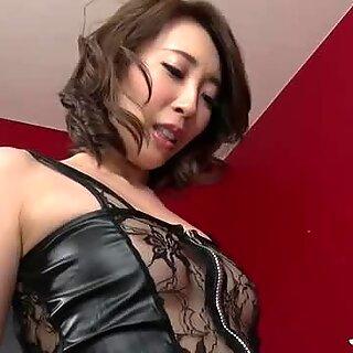 Aya Kisaki on high heels plays with cock