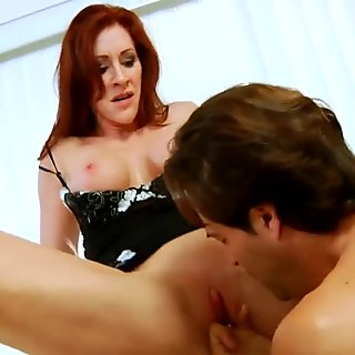 Mommy satisfies her starving vagina