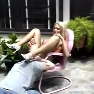 Gorgeous tanned blonde with massive tits gets anal and a facial outdoors
