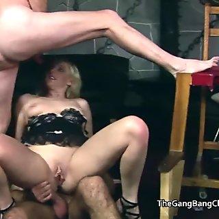 Regular guys group fucking the sex club sluts