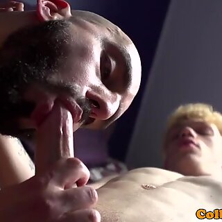 Young twink ass railed by muscular bald DILF