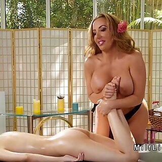 Milf masseuse massages petite teen